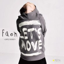 『Let's Move』 フードトレーナー<br>Gray/Blue<br><br>FaOn 2015AW<br>定価<s>4,900円</s>&nbsp;<b>20%Off</b>
