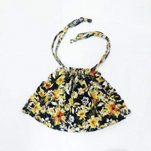 omeal the kinchaku / Yellow Flower Frill Bag