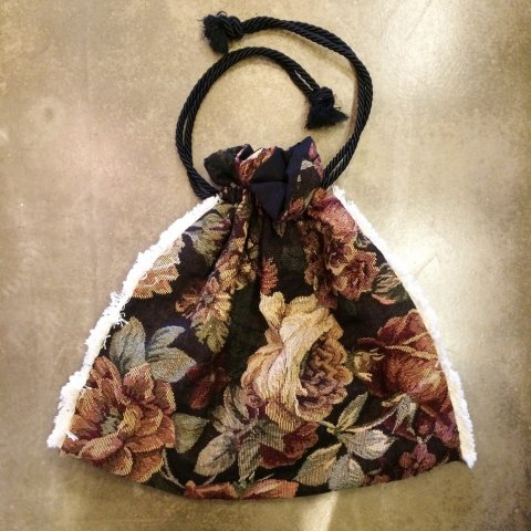 omeal the kinchaku / Brown Flower Gobellins Bag