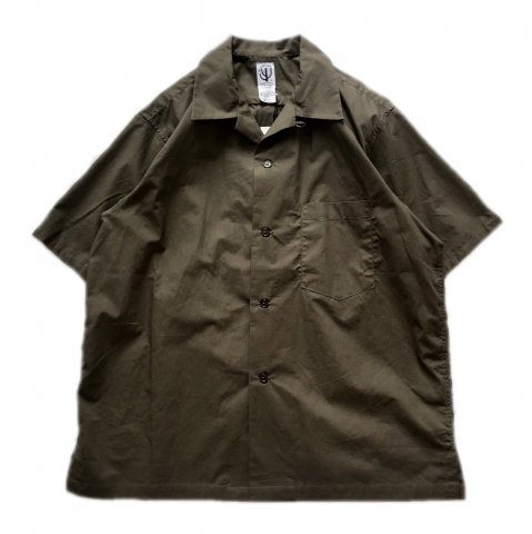 CORONA / FRENCH CAFE SHIRT SS - typewriter cloth dark khaki