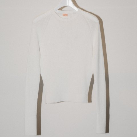 MAISON EUREKA / RIB HIGH NECK SUMMER SWEATER - white