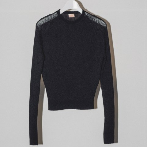 MAISON EUREKA / RIB HIGH NECK SUMMER SWEATER - black