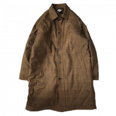 CORONA /  UP DUSTER COAT 18 w/LINING - wool check flannel w/quilting / dark khaki glencheck