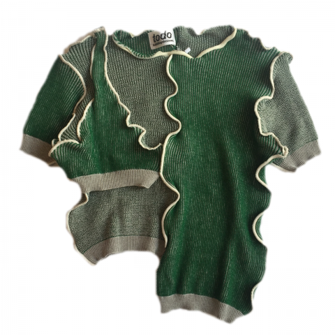 <img class='new_mark_img1' src='//img.shop-pro.jp/img/new/icons3.gif' style='border:none;display:inline;margin:0px;padding:0px;width:auto;' />  kotohayokozawa / Docking knit short sleeve - green