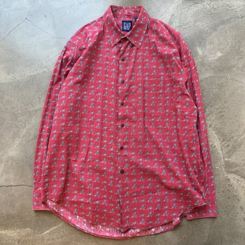 Vintage 90s GAP Fishing Print Shirt