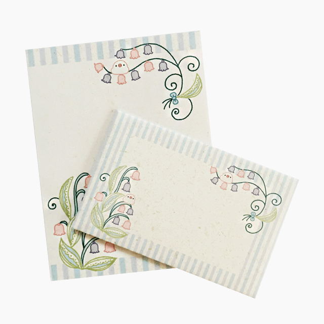 chitch 和紙風ミニレターセット(文鳥とスズラン)