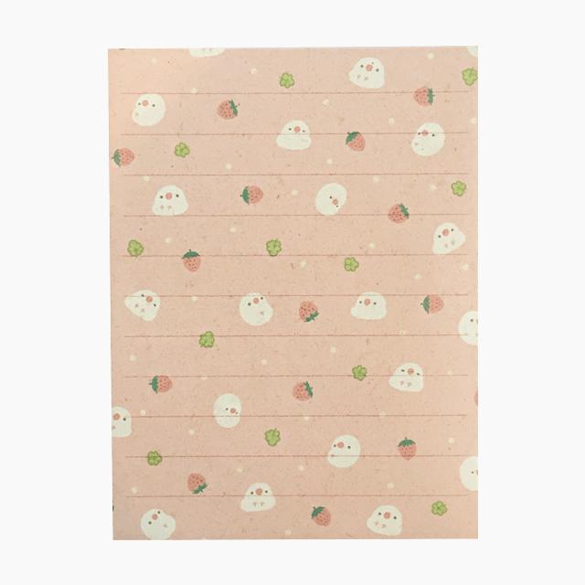 chitch 和紙風ミニレターセット(文鳥と苺) 商品の様子