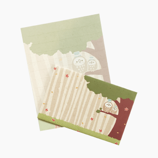chitch 和紙風ミニレターセット(フクロウ親子)