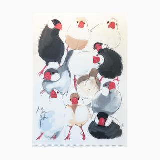オクムラミチヨ A4クリアファイル(文鳥)