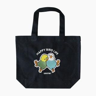 刺繍ランチトート(HAPPY BIRD LIFE セキセイインコ / ネイビー)