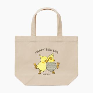 刺繍ランチトート(HAPPY BIRD LIFE オカメインコ / ナチュラル)