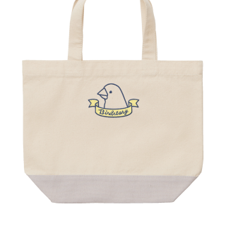 刺繍ランチトート(BIRD RIBBON / 文鳥 / グレー)