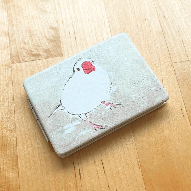 折りたたみミラー(オクムラミチヨ / 文鳥) 商品の様子