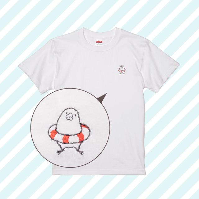 刺繍Tシャツ(ことり×うきわ / 文鳥)