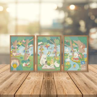つながるポストカード 3枚セット(BIRDLIBRARY)