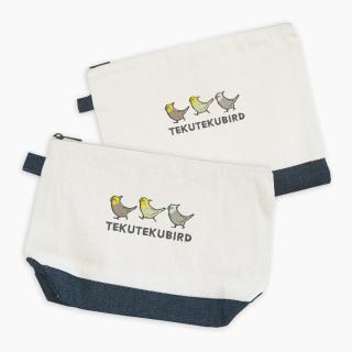 刺繍ポーチ(TEKU TEKU BIRD / オカメインコ / ナチュラル×デニム)