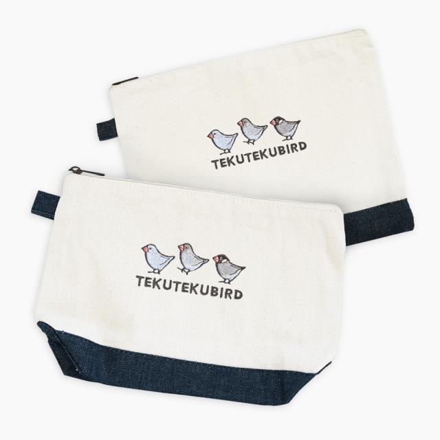 刺繍ポーチ(TEKU TEKU BIRD / ブンチョウ / ナチュラル×デニム)