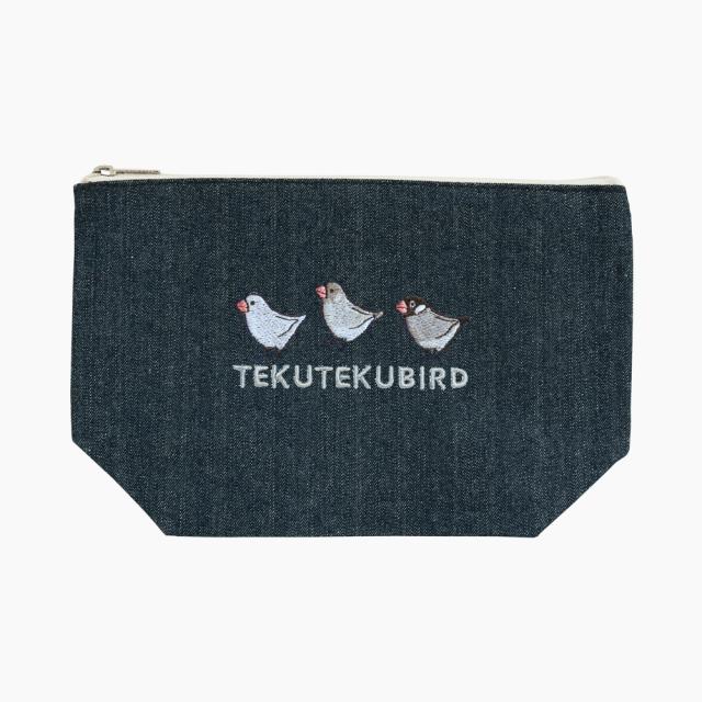 刺繍ポーチ(TEKU TEKU BIRD / ブンチョウ / デニム)