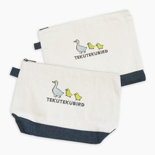 刺繍ポーチ(TEKU TEKU BIRD / アヒル / ナチュラル×デニム)