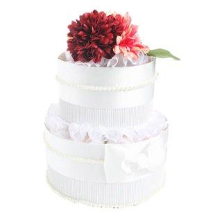 おむつケーキ パール&フラワーシリーズ〈RED〉