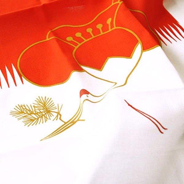 <紅白手拭い> 福鶴