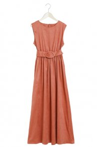 SUEDE MAXI DRESS/pink