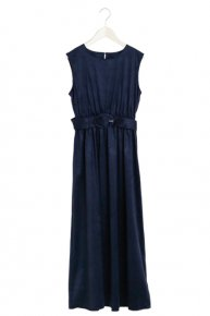 SUEDE MAXI DRESS/navy