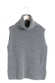 BIG COLLAR SLEEVELESS KNIT II/gray