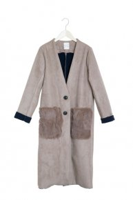 FAKE MOUTON LONG COAT/beige