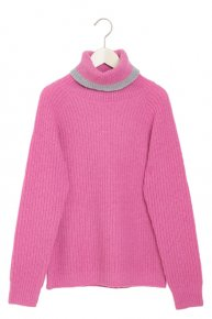 BI COLOR VOLUME KNIT/pink×gray