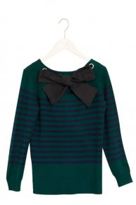 【2/28 21:00再入荷】BORDER RIBBON KNIT/green