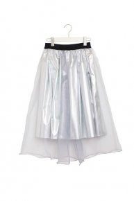METALLIC ORGANDY SKIRT/silver