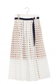 LACE DESIGN SKIRT/white