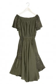 sale:COTTON SILK DRESS/khaki
