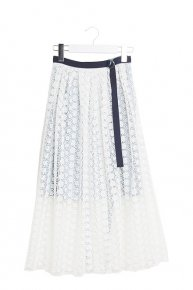 sale:FLOWER LACE DESIGN SKIRT/white