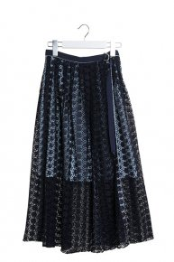 sale:FLOWER LACE DESIGN SKIRT/navy