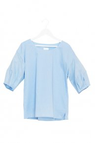 sale:LACEUP BALLOON BLOUSE/blue