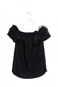 FRILL OFFSHOULDER BLOUSE/black