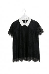 LACE x RIBBON BLOUSE/black x black