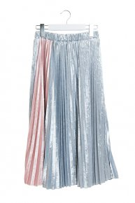 VELOUR PLEATED SKIRT/bluegray x pink