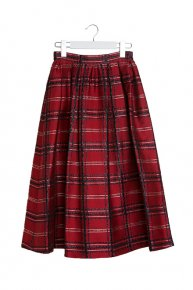 CHECK TUCK SKIRT/red