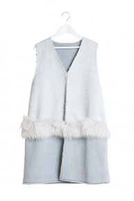 FUR x MOUTON GILET/ice gray