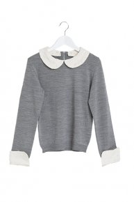DOT COLLAR KNIT/gray