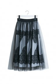 LACE x TULLE SKIRT/gray
