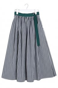 GINGHAM CHECK SKIRT/black x green