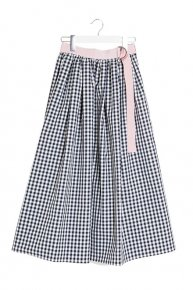 re stock: GINGHAM CHECK SKIRT/navy x pink