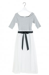 LIB×ORGANDIE DRESS/gray×white