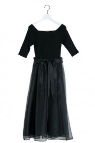 LIB×ORGANDIE DRESS/black×black