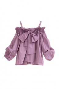 RIBBON OFFSHOULDER BLOUSE/purple<img class='new_mark_img2' src='https://img.shop-pro.jp/img/new/icons1.gif' style='border:none;display:inline;margin:0px;padding:0px;width:auto;' />