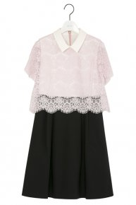 定価より30%OFF:COLLAR LACE DRESS �/pink